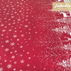 Beschichtete Baumwolle strukturiert Winter Landscape rot-natur III 170 cm x 140 cm