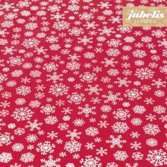 Beschichtete Baumwolle strukturiert Snowflakes rot-weiß III