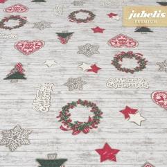 Beschichtete Baumwolle strukturiert Merry Christmas III 240 cm x 140 cm für Biertische (auf Wunsch geteilt = 2 Decken)