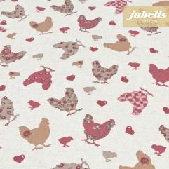 Beschichtete Baumwolle strukturiert Hühner natur III