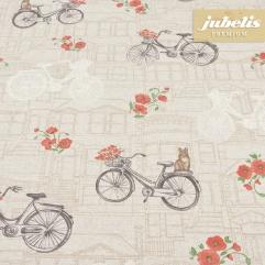 Beschichtete Baumwolle strukturiert Bicycle natur III 220 cm x 140 cm
