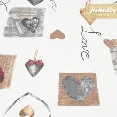 Beschichtete Baumwolle strukturiert Hearts weiß III