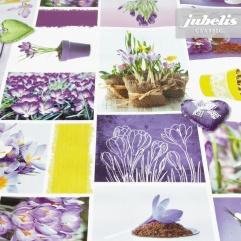 Wachstuch Krokus lila I 110 cm x 140 cm Küchentisch