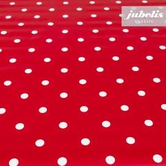 Wachstuch Puntos rot I 2000 cm x 140 cm komplette Rolle-Sonderpreis