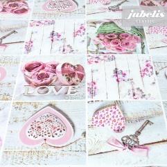 Wachstuch In Love rosa I 140 cm Durchmesser rund