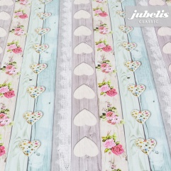 Wachstuch little Hearts beige I 230 cm x 140 cm