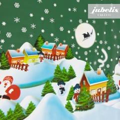 Wachstuch Weihnachten Schneemann grün P