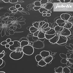 Wachstuch schwarz mit Blumen M