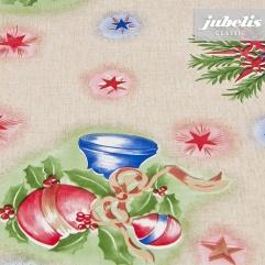 Wachstuch Weihnachten Kugeln rot-blau M 160 cm x 140 cm Bauerntisch