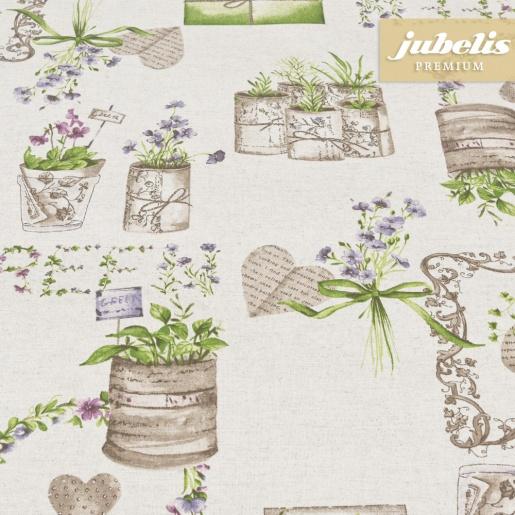 Beschichtete Baumwolle strukturiert Green Garden natur III 350 cm x 140 cm