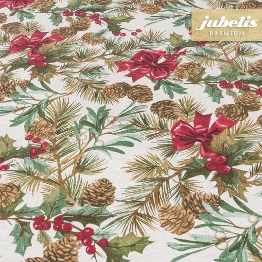 Beschichtete Baumwolle strukturiert Wintry Potpourri natur III 240 cm x 140 cm für Biertische (auf Wunsch geteilt = 2 Decken)