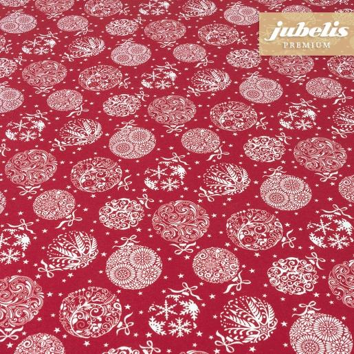 Beschichtete Baumwolle strukturiert Christmas Baubles rot III