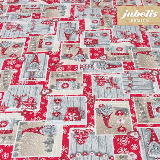 Beschichtete Baumwolle strukturiert Christmas Elf rot III 100 cm x 140 cm