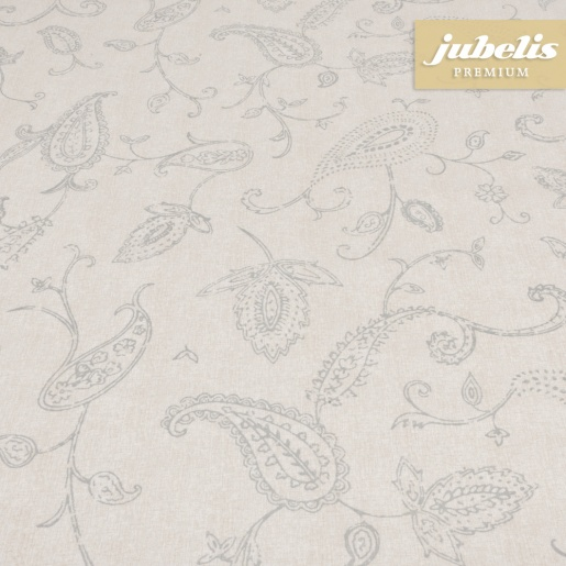 Beschichtete Baumwolle abwaschbar Eileen silber-beige H