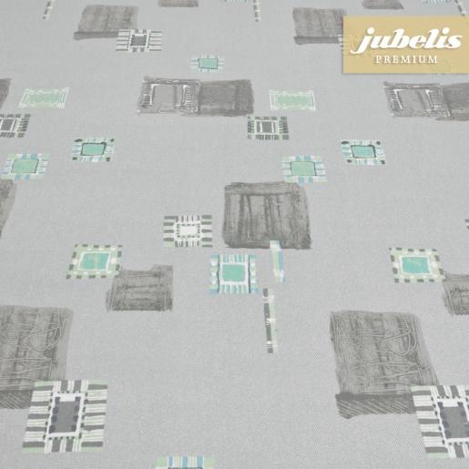 Beschichtete Baumwolle abwaschbar Inka grau H 160 cm x 140 cm Bauerntisch