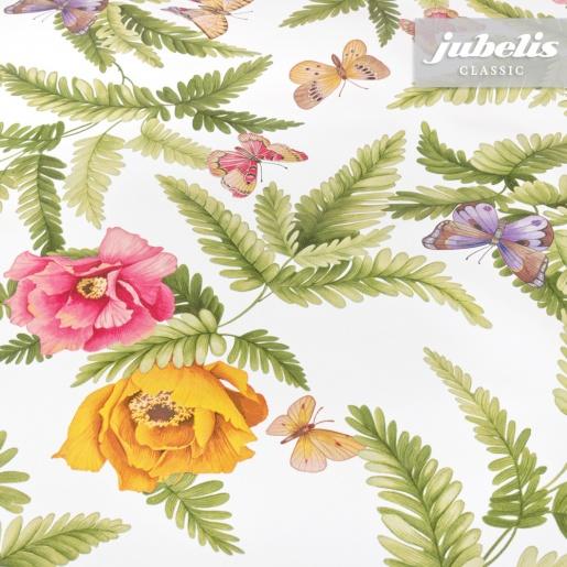 Wachstuch Butterfly Flowers II 160 cm x 140 cm Bauerntisch