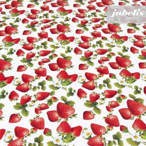 Wachstuch Erdbeeren mit Blüten II 120 cm x 140 cm