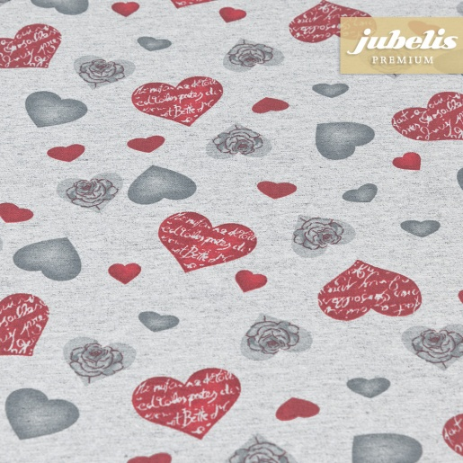 Beschichtete Baumwolle strukturiert Herzen modern grau III 240 cm x 140 cm für Biertische (auf Wunsch geteilt = 2 Decken)