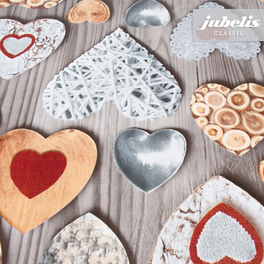 jubelis® | Wachstuch Herzen Holz grau I